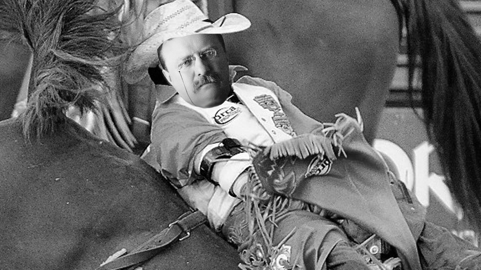 Teddy Roosevelt the Cowboy: After two sudden family deaths sent him spiraling into grief, President Roosevelt headed out to his ranch in the Dakota Territories. While there, he spent his days doing what cowboys in the 1880s did – hunting game, riding broncos and catching outlaws.  Source: http://www.whitehouse.gov/about/presidents/theodoreroosevelt