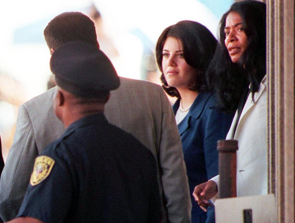 Former White House intern Monica Lewinsky (2nd R)