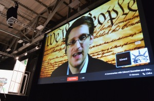 AUSTIN, TX - MARCH 10: NSA whistleblower Edward Snowden speaks via videoconference at the 'Virtual Conversation With Edward Snowden' at SXSW Music, Film + Interactive Festival(Getty Images for SXSW)