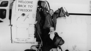January 1981: United States hostages departing an airplane on their return from Iran after being held for 444 days.