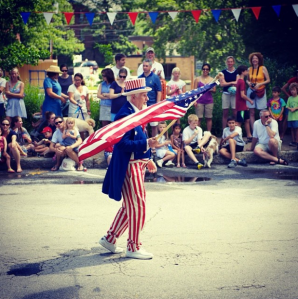@apshel: I'm thankful for tradition. Every year in my hometown of Swarthmore PA one of the long-time residents dresses up as Uncle Sam for the 4th of July parade. The parade is very short: one block long. He loves being part of the parade and so do we. #publicsquare #psthankfulfor #unclesam #parade #4thofjuly #tradition #swarthmoreFollow #thankful #newday