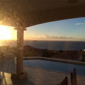 @glen_carty: Warm sunrise on St.Maarten with sea, pool and St.Barths in background #NewDayCNN #Window