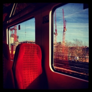 @kennisschan: Quite a nice day today ☀️ #newday #sunny #cold #train #window #scenery #sit #red #today