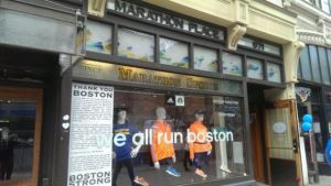 A view of the front of Marathon Sports in Boston.