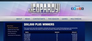Here's a look at the current top five highest grossing Jeopardy contestants.