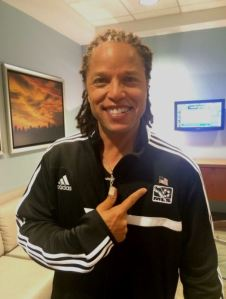 """Cobi Jones is a veteran of three World Cups. He shows off his soccer pride on """"New Day."""""""