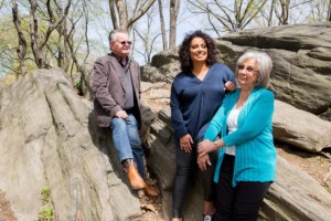 Michaela with her parents, Doug and Ainslie, during a recent visit in New York City.
