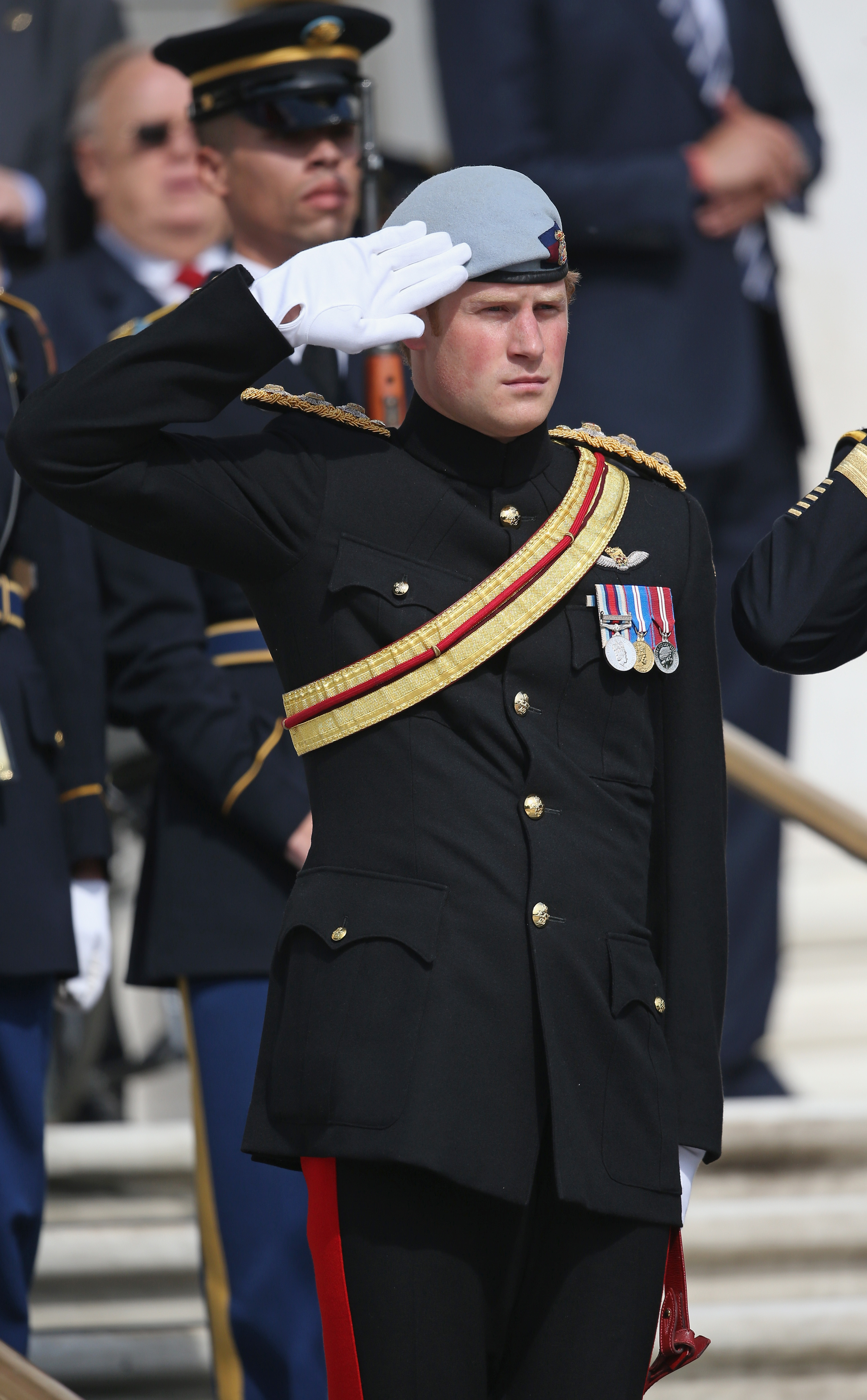 Prince Harry wearing his No. 1 ceremonial uniform of The Blues and Royals as he pays his respects to the victims of the Afghanistan conflict and the tomb of the unknown soldier during the second day of his visit to the United States. (Photo by Chris Jackson/Getty Images)