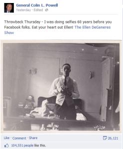 Powell FB selfie