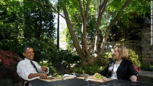 Hillary Clinton and President Obama meet for lunch on Monday, July 29, 2013. (Official White House photo by Chuck Kennedy)