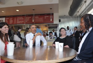 Obama stops at a Chipotle in Washington 6/23/2014 (Getty Images)