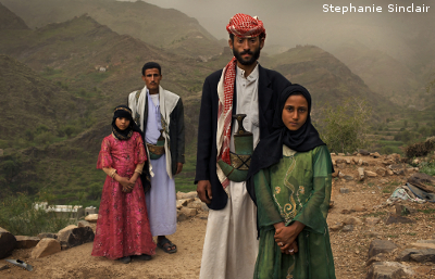 "Whenever I saw him, I hid. I hated to see him,"" Tahani (in pink) recalls of the early days of her marriage to Majed, when she was 6 and he was 25. The young wife posed for this portrait with former classmate Ghada, also a child bride, outside their mountain home in Hajjah."