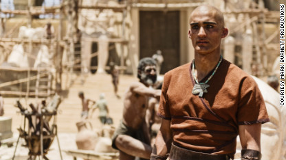 An actor portrays an Egyptian slave driver in 'The Bible' miniseries