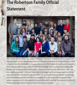 The Robertson Family Official Statement