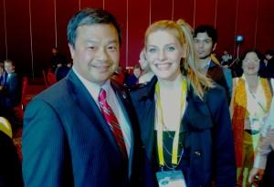 Fatima with astronaut Leroy Chiao