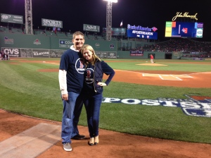 "Adam Davis & Adrianne Haslet-Davis on the field at Fenway Park to yell ""play ball!"" at the beginning of a Red Sox playoff game. SOURCE: Adrianne Haslet-Davis/Adam Davis"
